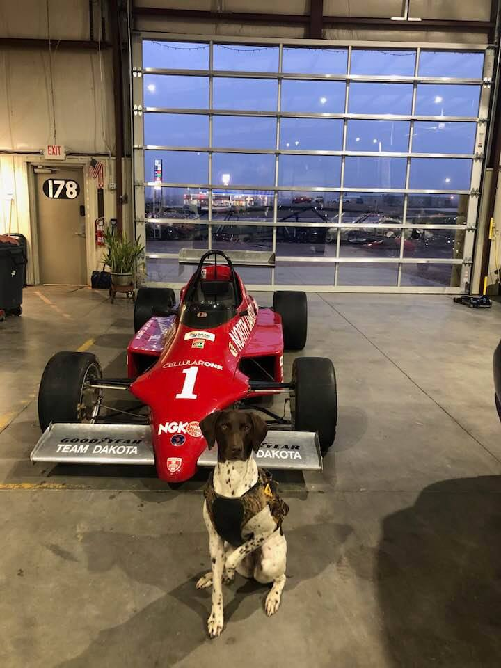 Dakota the Dog and the Skip Barber Saab